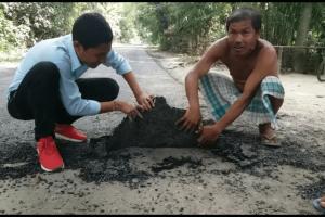টংলা-মাহালিপাড়া সড়কে নিম্নমানের কাজের অভিযোগ
